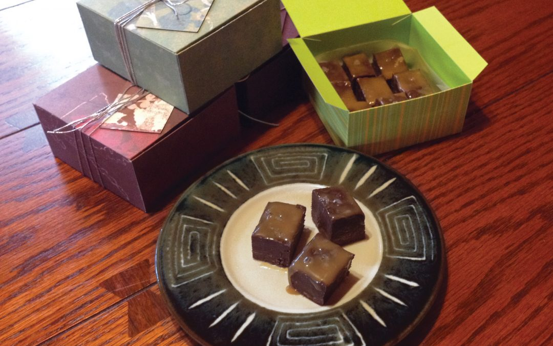 Simple Gift Boxes with Salt Caramel Fudge